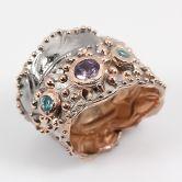 Кольцо с Аметистом и Топазами