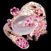 Кольцо с розовым Кварцем и Гранатами
