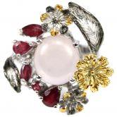 Кольцо с розовым Кварцем и Рубинами