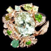 Кольцо с зеленым Аметистом, Изумрудами, Хромдиопсидами