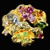 Кольцо с Гранатами, Танзанитами, Хромдиопсидами