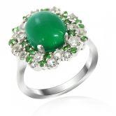 Кольцо с зеленым Агатом и Тсаворитами
