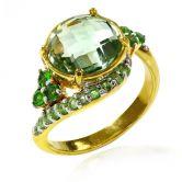 Кольцо с Зеленым Аметистом, Тсаворитами, Хромдиопсидом