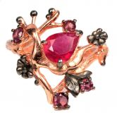 Кольцо с Рубинами и Гранатами