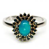 Кольцо с голубым Опалом и Сапфирами