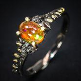 Кольцо с радужным Опалом 7 мм
