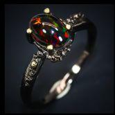 Кольцо с черным Опалом 8 мм