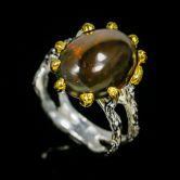 Кольцо с черными Опалом 15 мм
