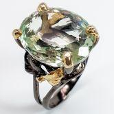 Кольцо с зеленым Аметистом 18 мм