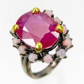 Кольцо с Рубинами и розовыми Опалами  (при покупке в комплекте)
