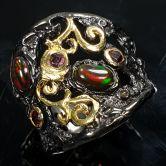 Кольцо с черными Опалами
