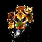 Кольцо с апельсиновыми Опалами 6 мм
