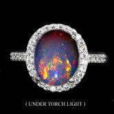 Кольцо с огненным Опалом 11 мм
