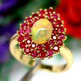 Кольцо с Рубинами и Опалом