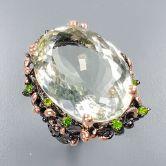 Кольцо с огромным зеленым Аметистом