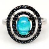 Кольцо с голубым Опалом и Сапфирамм